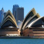 Sydney Opera House and skyscrapers, in Sydney, New South Wales, Australia